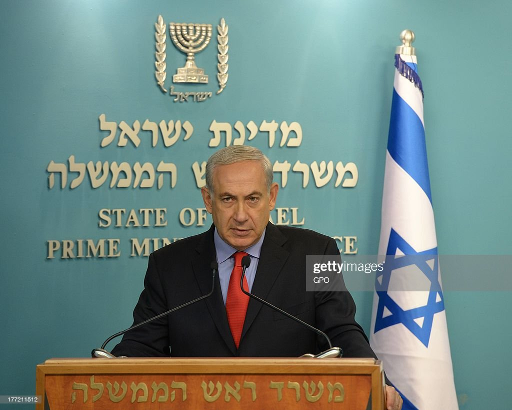 In this handout provided by the GPO, Prime Minister Benjamin Netanyahu's makes a statement on August 22,2013 in Jerusalem, Israel. Netanyahu said that Israel was acting on all fronts to protect its citizens after rockets were fired at Israel from across the border in southern Lebanon.