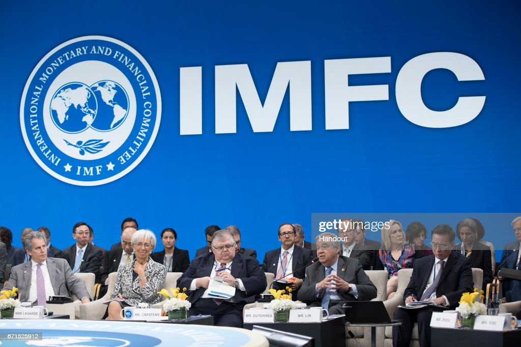 In this handout provided by the IMF, International Monetary Fund Managing Director Christine Lagarde (2nd L) speaks as IMF Deputy MD David Lipton (L), Chairman Agustin Carstens (C), UN General Secretary Antonio Guterres (2nd R) and IMF Secretary Jinhai Lin (R) listen as she address the IMFC meeting April 22, 2017 at the IMF Headquarters in Washington, DC. The IMF/World Bank Spring Meetings are being held in Washington this week.