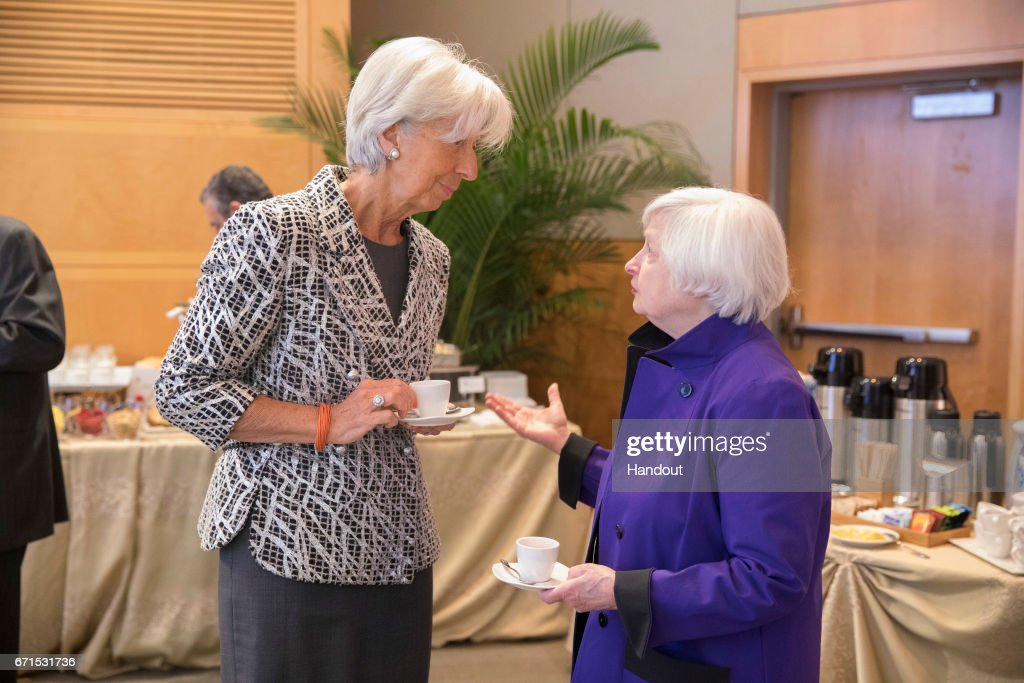 In this handout provided by the IMF, International Monetary Fund Christine Lagarde (L) talks to US Federal Reserve Chairwoman Janet Yellen (R) at a breakfast meeting April 22, 2017 at the IMF Headquarters in Washington, DC. The IMF/World Bank Spring Meetings are being held in Washington this week.