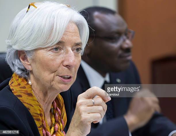 In this handout provided by the International Monetary Fund International Monetary Fund Managing Director Christine Lagarde and Rwanda's Finance...