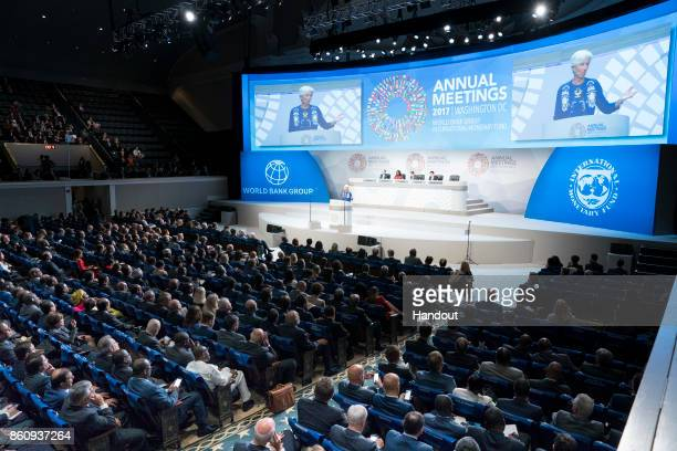 In this handout provided by the International Monetary Fund International Monetary Fund Managing Director Christine Lagarde speaks at the Plenary...