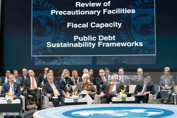 In this handout provided by the International Monetary Fund International Monetary Fund Managind Director Christine Lagarde speaks at the IMFC...