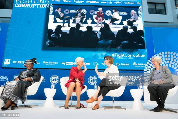 In this handout provided by the International Monetary Fund International Monetary Fund Managing Director Christine Lagarde joins a panel on Fighting...