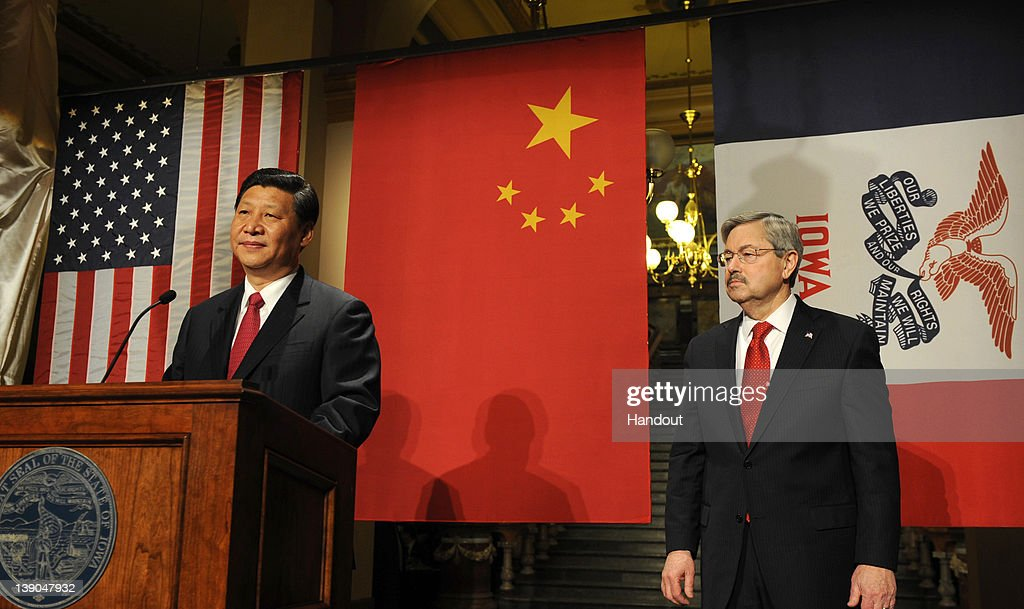 In this handout provided by the Iowa Governor's Office, Vice President Xi Jinping of the People's Republic of China speaks as Iowa Gov. Terry Branstad looks on at a State Dinner at the state Capitol in February 15, 2012 in Des Moines, Iowa, President Obama met yesterday with Xi, who is to take over as president of China in 2013.