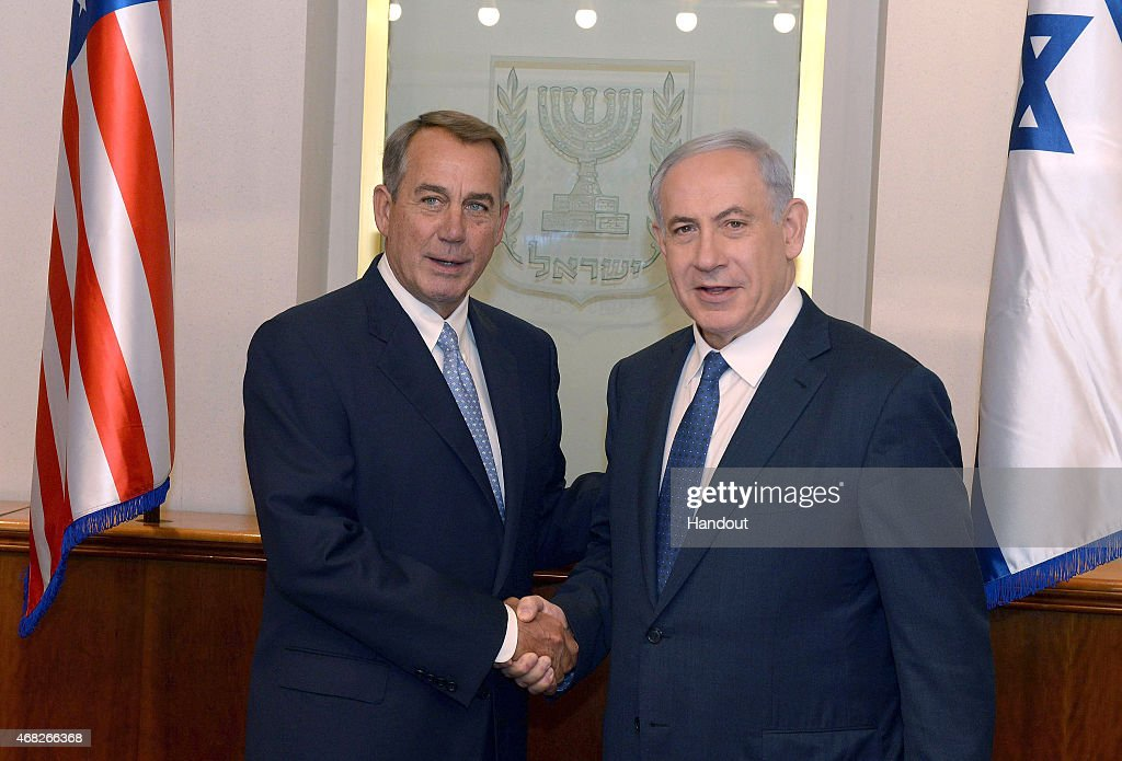 In this handout provided by the Israeli Government Press Office, Israel Prime Minister Benjamin Netanyahu (R) shakes hands with U.S. House Speaker John Boehner April 1, 2015 in Jerusalem, Israel. Boehner is leading a delegation of congressional Republicans to the Middle East amid intense debate over a pending nuclear deal with Iran.