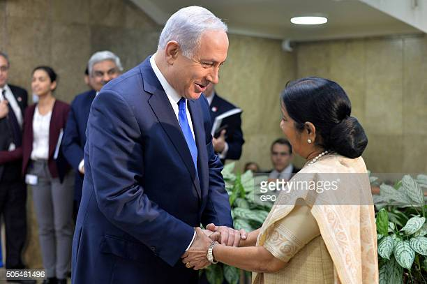 In this handout provided by the Israeli Government Press Office Israeli Prime Minister Benjamin Netanyahu meets with Sushma Swaraj External Affairs...