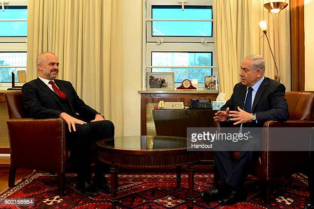 In this handout provided by the Israeli GPO Israel's Prime Minister Benjaim Netanyahu meets with Edi Rama the Prime Minister of Albania on December...