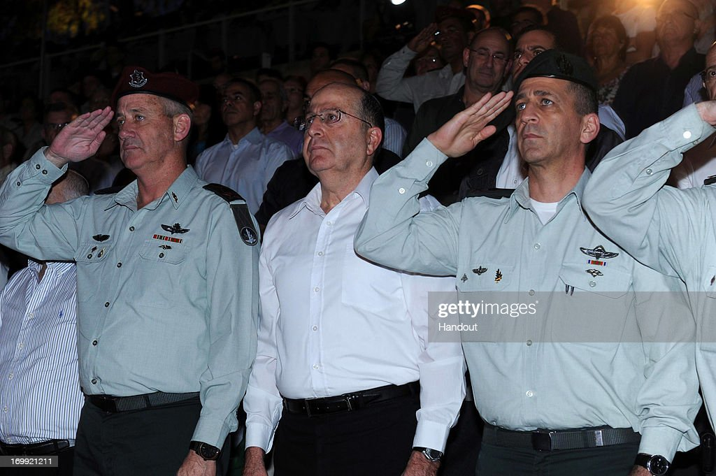 In this handout provided by the Israeli Ministry of Defense, Defense Minister Moshe Ya'alon attends a ritual with the intelligence community on June 4, 2013 in Isreal.