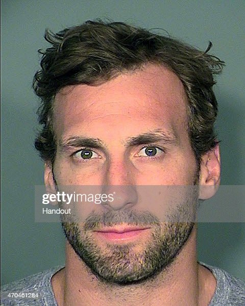 In this handout provided by the Las Vegas Metropolitan Police Department, hockey player Jarret Stoll of the Los Angeles Kings poses for a mugshot photo after he was was arrested at a Las Vegas Strip Resort for possession of a controlled substance April 17, 2015 in Las Vegas, Nevada. Stoll was transported to Clark County Detention Center and has been released on his own recognizance. Stoll is the boyfriend of Erin Andrews, a Fox Sports reporter.