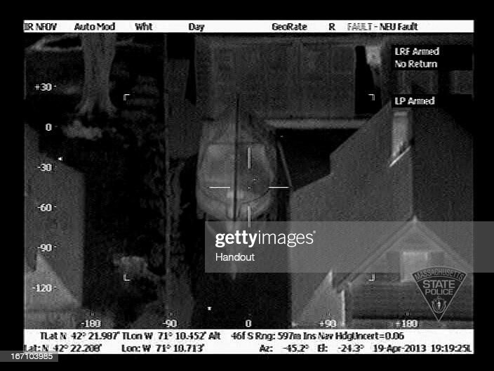 In this handout provided by the Massachusetts State Police, the boat in which Boston Marathon bombing suspect Dzhokhar A. Tsarnaev was hiding is seen from the Forward Looking Infrared setting of a police helicopter on Franklin Street on April 19, 2013 in Watertown, Massachusetts. A manhunt for Dzhokhar A. Tsarnaev, 19, a suspect in the Boston Marathon bombing ended after he was apprehended on a boat parked on a residential property. His brother Tamerlan Tsarnaev, 26, the other suspect, was shot and killed after a car chase and shootout with police. The bombing, on April 15 at the finish line of the marathon, killed three people and wounded at least 170