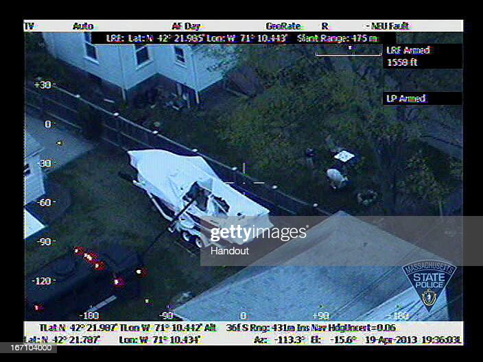 In this handout provided by the Massachusetts State Police the boat in which Boston Marathon bombing suspect Dzhokhar A Tsarnaev was hiding is seen...