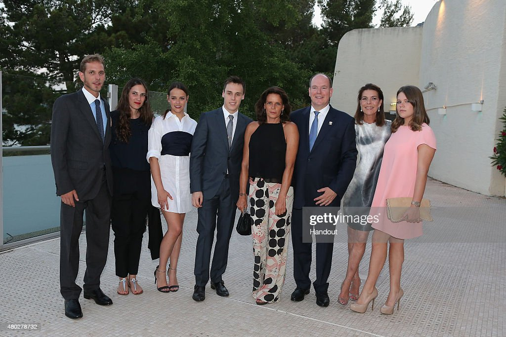 In This Handout Provided by the Monaco Press Center, (L-R) Andrea Casiraghi and his wife, Pauline Ducruet, Louis Ducruet, Princess Stephanie of Monaco, Prince Albert II of Monaco, Princess Caroline of Hanover and Camille Gottlieb pose before the Fight Aids Charity Gala In Monte-Carlo on July 10, 2015 in Monaco, Monaco.