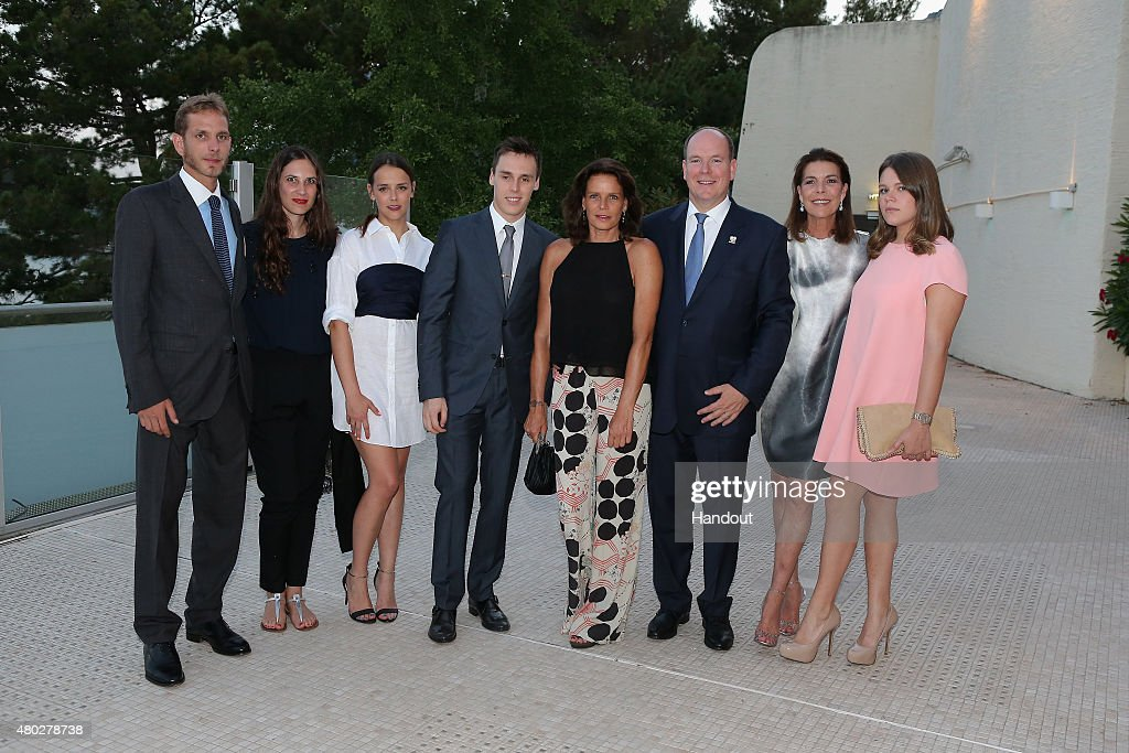 In This Handout Provided by the Monaco Press Center, (L-R) <a gi-track='captionPersonalityLinkClicked' href=/galleries/search?phrase=Andrea+Casiraghi&family=editorial&specificpeople=213711 ng-click='$event.stopPropagation()'>Andrea Casiraghi</a> and his wife, <a gi-track='captionPersonalityLinkClicked' href=/galleries/search?phrase=Pauline+Ducruet&family=editorial&specificpeople=2084053 ng-click='$event.stopPropagation()'>Pauline Ducruet</a>, <a gi-track='captionPersonalityLinkClicked' href=/galleries/search?phrase=Louis+Ducruet&family=editorial&specificpeople=2313830 ng-click='$event.stopPropagation()'>Louis Ducruet</a>, Princess Stephanie of Monaco, Prince Albert II of Monaco, Princess Caroline of Hanover and <a gi-track='captionPersonalityLinkClicked' href=/galleries/search?phrase=Camille+Gottlieb&family=editorial&specificpeople=2314529 ng-click='$event.stopPropagation()'>Camille Gottlieb</a> pose before the Fight Aids Charity Gala In Monte-Carlo on July 10, 2015 in Monaco, Monaco.