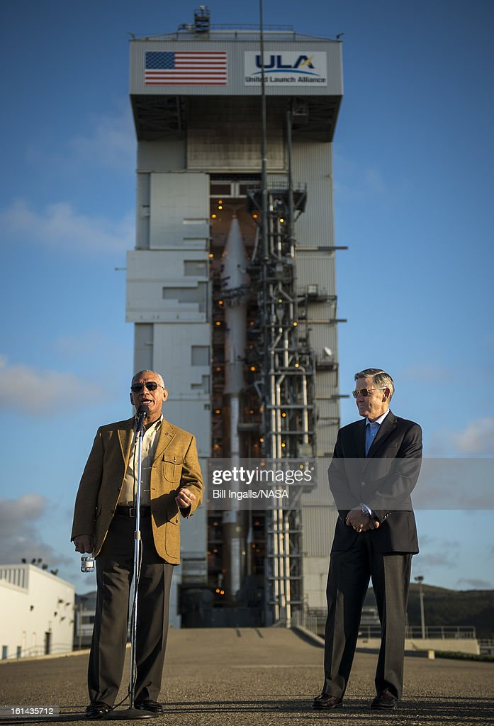 In this handout provided by the National Aeronautic and Space Administration (NASA), NASA Administrator Charles Bolden (L) talks as NASA Kennedy Space Center Director Robert Cabana looks on during a media briefing in front of the ULA Atlas-V rocket with the Landsat Data Continuity Mission (LDCM) spacecraft onboard on February 10, 2013 at Vandenberg Air Force Base, California. The Landsat Data Continuity Mission (LDCM) mission is a collaboration between NASA and the U.S. Geological Survey that will continue the Landsat Program's 40-year data record of monitoring the Earth's landscapes from space. The spacecraft is scheduled to launch Feb. 11.