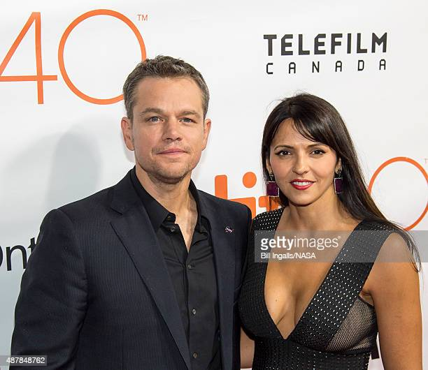 In this handout provided by the National Aeronautics and Space Administration Actor Matt Damon and his wife Luciana Damon attend the world premiere...