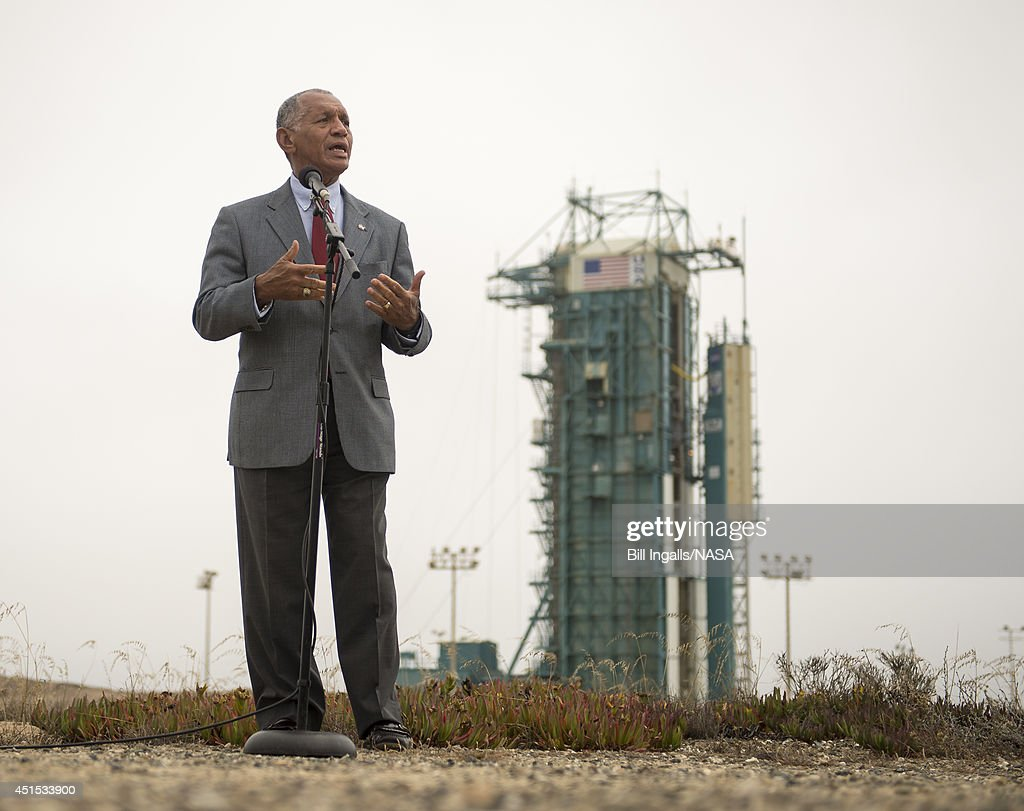 In this handout provided by the National Aeronautics and Space Administration (NASA), NASA Administrator Charles Bolden answers social media attendees questions from just outside the launch pad where the United Launch Alliance Delta II rocket with the Orbiting Carbon Observatory-2 (OCO-2) satellite onboard sits ready to launchat the Space Launch Complex 2 on June 30, 2014 at Vandenberg Air Force Base, California. OCO-2 will measure the global distribution of carbon dioxide, the leading human-produced greenhouse gas believed to drive changes in Earth's climate. OCO-2 is set for a July 1 launch.