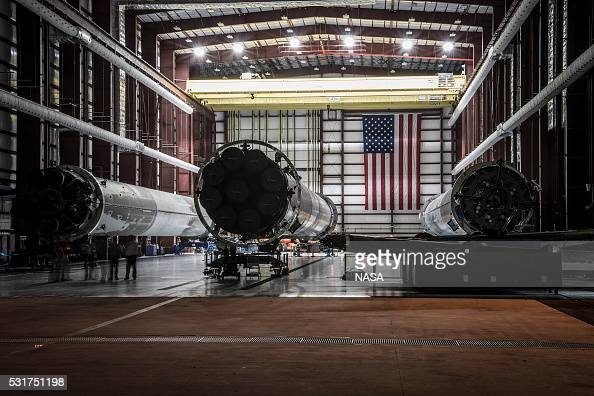 In this handout provided by the National Aeronautics and Space Administration landed SpaceX rockets sit in Launch Complex 39 at the Kennedy Space...
