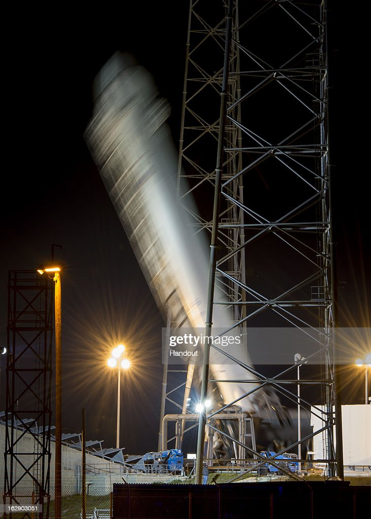 In this handout provided by the National Aeronautics and Space Administration (NASA), the SpaceX Falcon 9 rocket carrying the Dragon spacecraft onboard, is erected on the launchpad at Launch Complex 40 at the Cape Canaveral Air Force Station on March 1, 2013 in Florida . Launch of the second SpaceX Commercial Resupply Services mission is scheduled for later this morning.