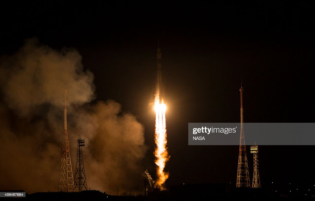 In this handout provided by the National Aeronautics and Space Administration The Soyuz TMA15M rocket launches from the Baikonur Cosmodrome November...