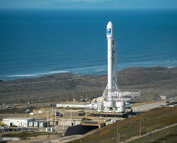 In this handout provided by the National Aeronautics and Space Administration the SpaceX Falcon 9 rocket is seen at Vandenberg Air Force Base Space...