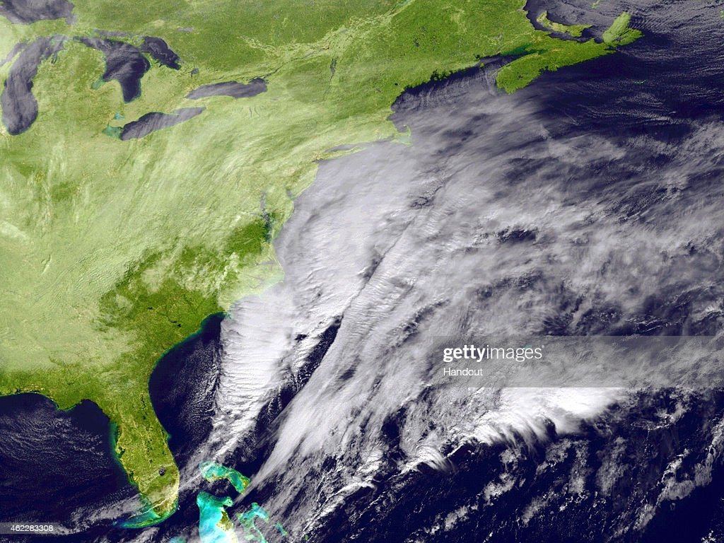 In this handout provided by the National Oceanic and Atmospheric Administration from the GOESEast satellite a major winter storm develops over the...