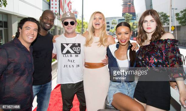In this handout provided by the Paramount Pictures Jon Bass Amin Joseph Zac Efron Kelly Rohrbach Ilfenesh Hadera and Alexandra Daddario pose as...