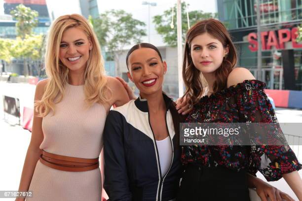 In this handout provided by the Paramount Pictures Kelly Rohrbach Ilfenesh Hadera and Alexandria Daddario pose as Paramount Pictures presents the...