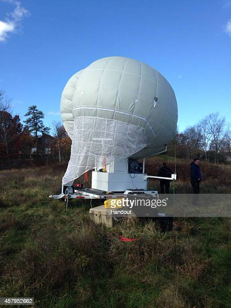 In this handout provided by the Pennsylvania State Police a large Mylar surveillance balloon that is being used in the search for suspected killer...