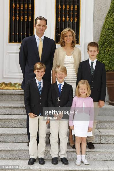 In this handout provided by the Spainish Royal House Don Miguel Urdangarin y de Borbon Grande of Spain poses with his parents Princess Cristina of...