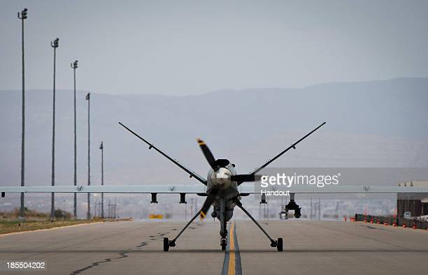 In this handout provided by the US Air Force an MQ9 Reaper is seen on April 25 2013 at Holloman Air Force Base New Mexico MQ9 Reapers can be airborne...
