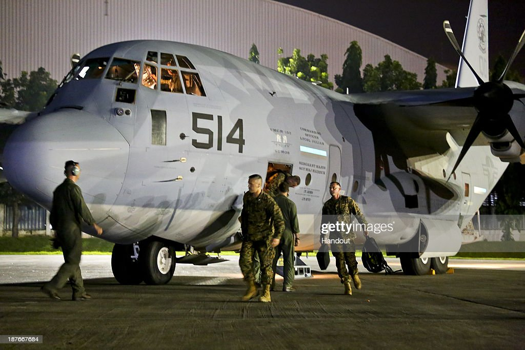 In this handout provided by the U.S. Department of Defense, U.S. Marines arrive on two KC-130J Super Hercules aircraft on Villamor Air Base in the aftermath of Typhoon Haiyan on November 10, 2013 in Paranaque City, Philippines. Marine Corps Forces Pacific are working with the Philippine government to rapidly deliver humanitarian assistance and disaster relief in the wake of Typhoon Haiyan.Typhoon Haiyan, packing maximum sustained winds of 195 mph (315 kph), slammed into the southern Philippines and left a trail of destruction in multiple provinces, forcing hundreds of thousands to evacuate and making travel by air and land to hard-hit provinces difficult. Around 10,000 people are feared dead in the strongest typhoon to hit the Philippines this year.