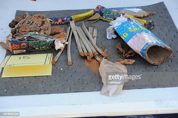 In this handout provided by the US Department of Justice a collection of fireworks that was found inside a backpack that belonged to Boston Marathon...