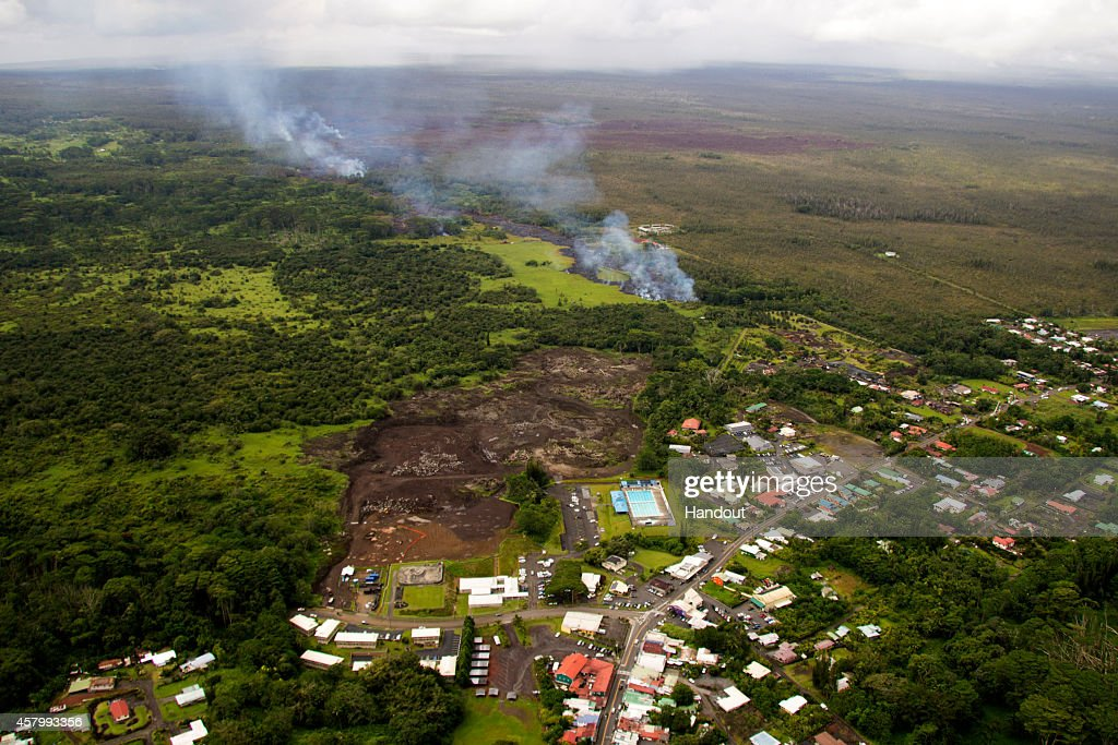 In this handout provided by the US Geological Survey a aerial view of the front of the June 27th lava flow from the Kilauea Volcano on October 27...