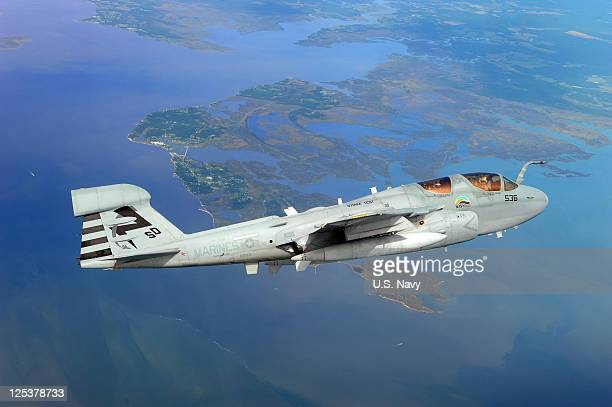 In this handout provided by the US Navy an EA6B Prowler from the Salty Dogs of Air Test and Evaluation Squadron 23 flies September 16 2011 over...