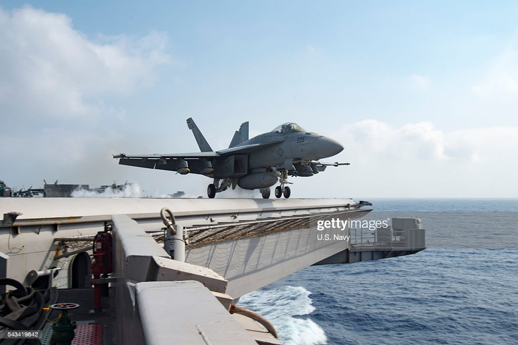 In this handout provided by the U.S. Navy, an F/A-18E Super Hornet assigned to the Sidewinders of Strike Fighter Squadron (VFA) 86 launches from the flight deck of the aircraft carrier USS Dwight D. Eisenhower (CVN 69)on June 28, 2016 in the Mediterranean Sea. Dwight D. Eisenhower is deployed in support of Operation Inherent Resolve, maritime security operations and theater security operation efforts in the U.S. 6th Fleet area of operations.