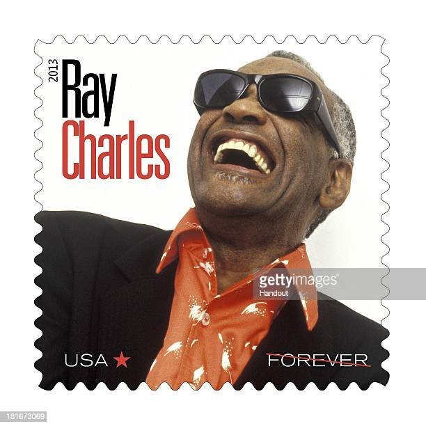 In this handout provided by the US Postal Service a stamp with the likeness of musician Ray Charles is seen as part of the Music Icons Forever Stamps...