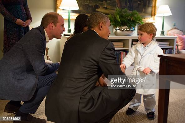 In this handout provided by The White House President Barack Obama Prince William Duke of Cambridge and First Lady Michelle Obama talks with Prince...