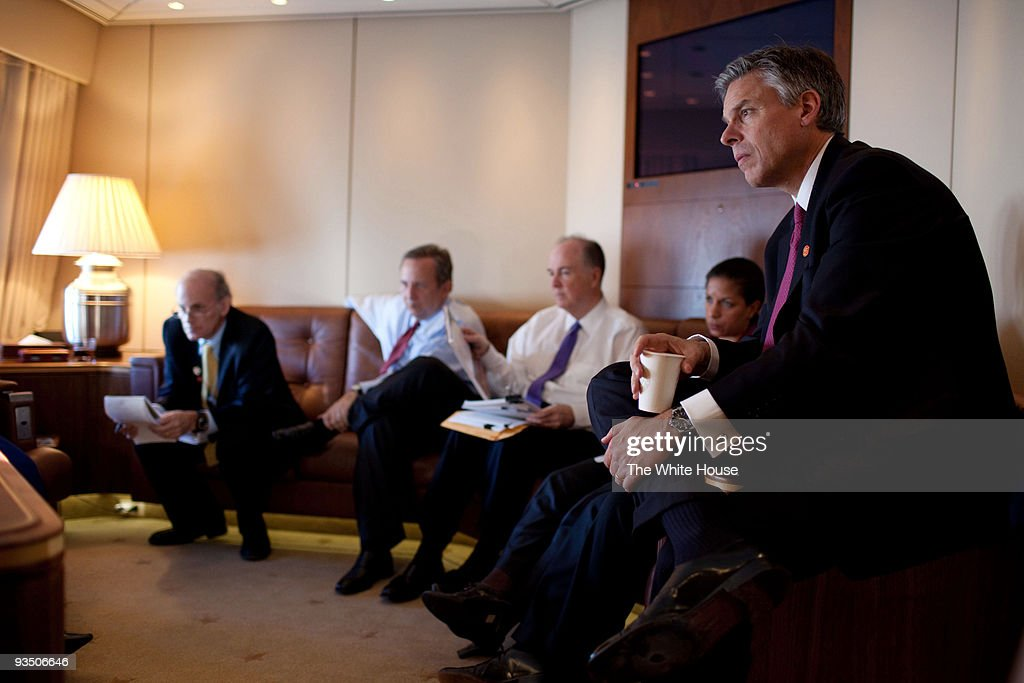 In this handout provided by the White House, U.S. Ambassador to China Jon Huntsman (R) listens as President Barack Obama meets with advisors (L-R) NSC Senior Director for Asian Affairs Ambassador Jeff Bader, National Economic Council Director Larry Summers, Deputy National Security Advisor Tom Donilon and U.S. Permanent Representative to the United Nations Susan E. Rice on Air Force One November 16, 2009 en route to Beijing, China. Obama made an official nine-day, four-nation, Asia tour during which he visited Japan and attended the APEC Summit in Singapore before heading to China and South Korea.
