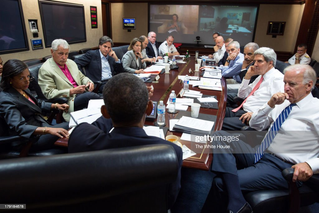In this handout provided by the White House, U.S. President Barack Obama (C) meets in the Situation Room with his national security advisors to discuss strategy in Syria of the White House August 31, 2013 in Washington, DC. Obama stated that he will seek Congressional authorization for the U.S. to take military action following the alleged Sarin nerve gas used in an attack on Syrian civilians.