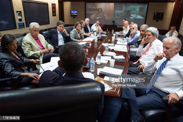 In this handout provided by the White House US President Barack Obama meets in the Situation Room with his national security advisors to discuss...