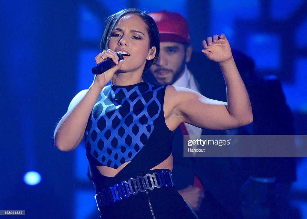 In this handout provided by the ZDF, Alicia Keys performs at 'Wetten dass..?' From Freiburg on December 8, 2012 in Freiburg im Breisgau, Germany.