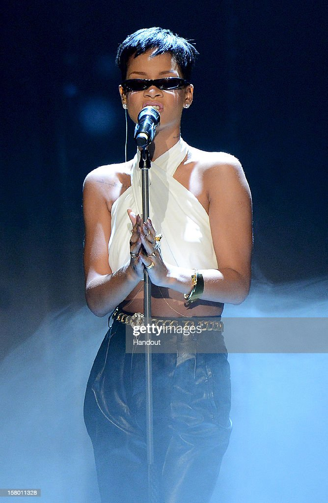 In this handout provided by the ZDF, Rihanna performs at 'Wetten dass..?' From Freiburg on December 8, 2012 in Freiburg im Breisgau, Germany.