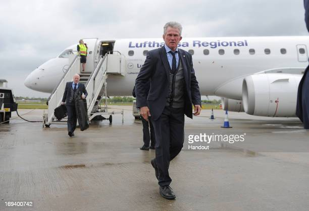 In this handout provided by UEFA Coach Jupp Heynckes of FC Bayern Munich arrives with his team at London City Airport on the eve of the UEFA...