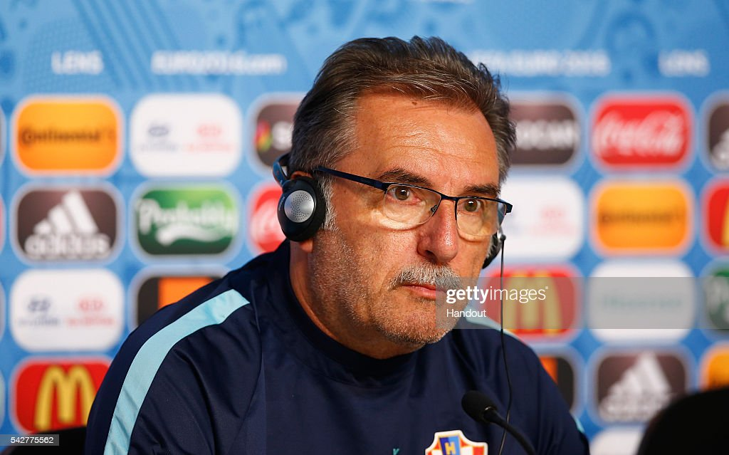 In this handout provided by UEFA, Head Coach Ante Cacic of Croatia talks to the media during the Croatia Press Conference at the Stade Bollaert-Delelis on June 24, 2016 in Lens, France.