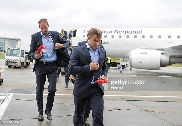 In this handout provided by UEFA Xherdan Shaqiri of FC Bayern Munich arrives with his teammates at London City Airport on the eve of the UEFA...