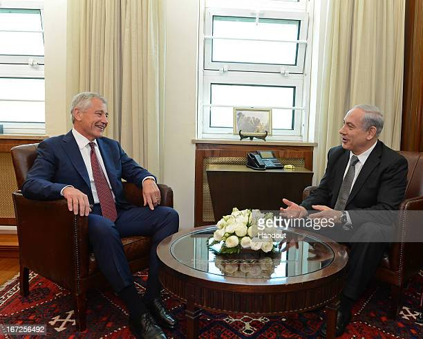 In this handout provided by US Embassy in Tel Aviv US Defense Secretary Chuck Hagel meets Israeli Prime Minister Benjamin Netanyahu at his office on...