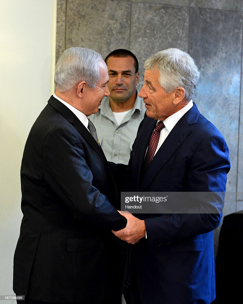 In this handout provided by U.S. Embassy in Tel Aviv, U.S. Defense Secretary Chuck Hagel (R) meets Israeli Prime Minister Benjamin Netanyahu at his office on April 23, 2013 in Jerusalem, Israel. Hagel will visit Israel, Jordan, Saudi Arabia, Egypt and the United Arab Emirates on his first trip to the Mideast as Pentagon chief.