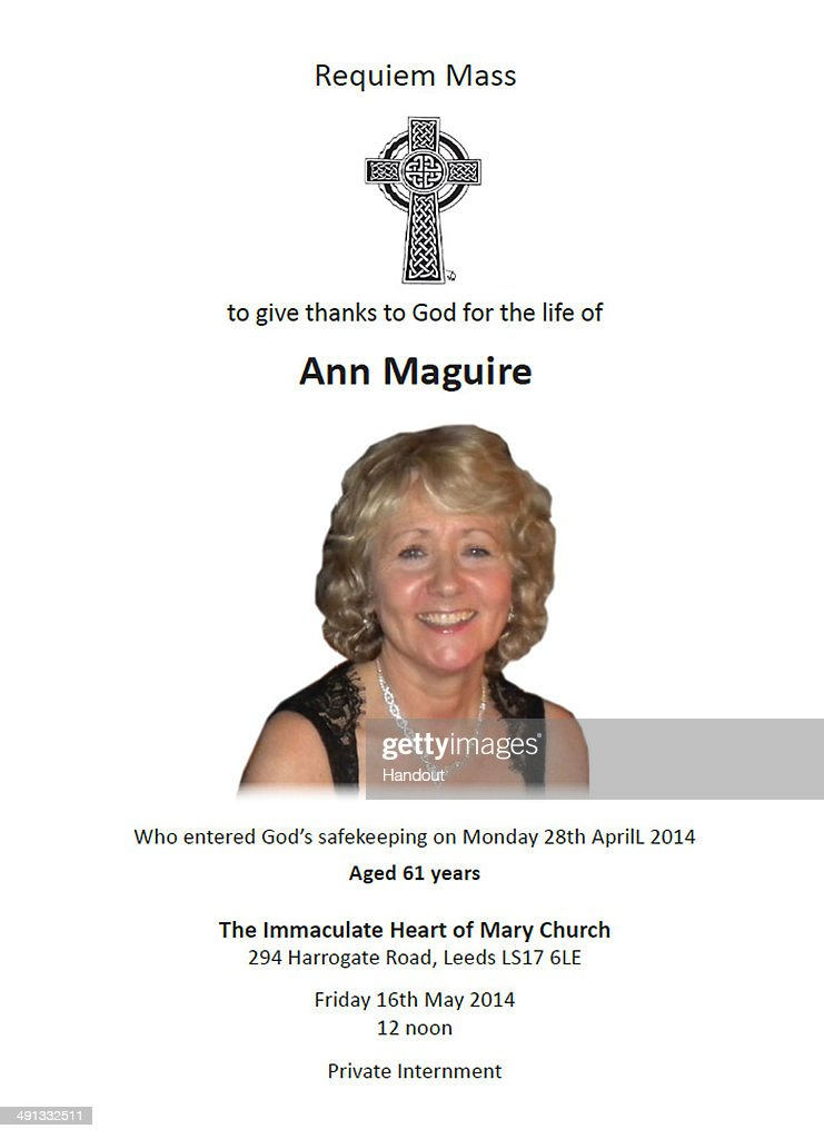 In this handout provided by West Yorkshire Police a copy of the Order of Service for the murdered teacher Ann Maguire's funeral is displayed on May...