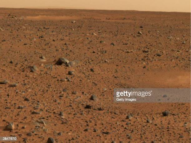 In this handout released by NASA a portion of the first color image of Mars that was taken by the panoramic camera on the Mars Exploration Rover...