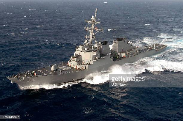 In this handout released by the US Navy the guidedmissile destroyer USS Barry is seen July 12 2004 in the Atlantic Ocean In a response to a alleged...